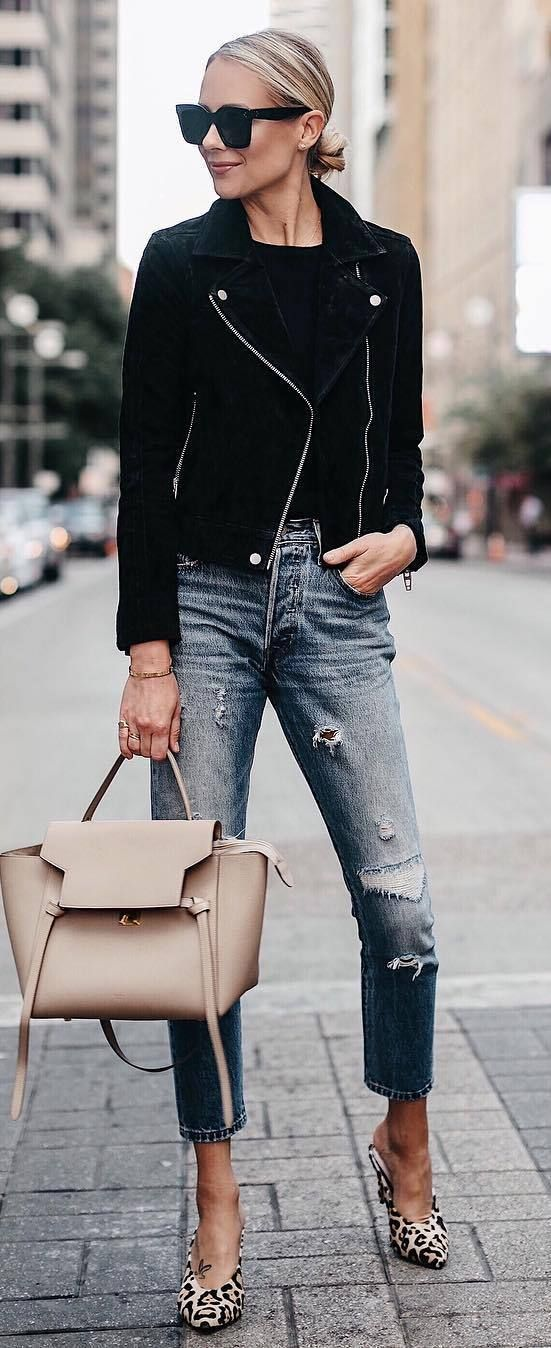 how to style animal printed heels : biker jacket + top + nude bag + ripped jeans #omgoutfitideas #women #casual