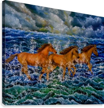 Horses, painting, canvas print