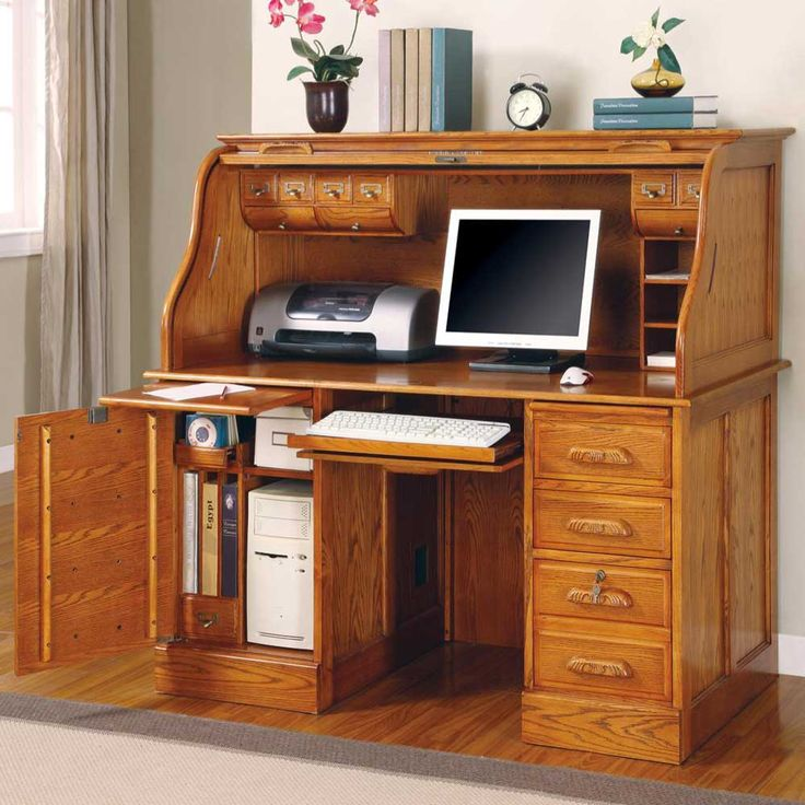 Captivating Oak Roll Top Computer Desk   Home Furniture Design