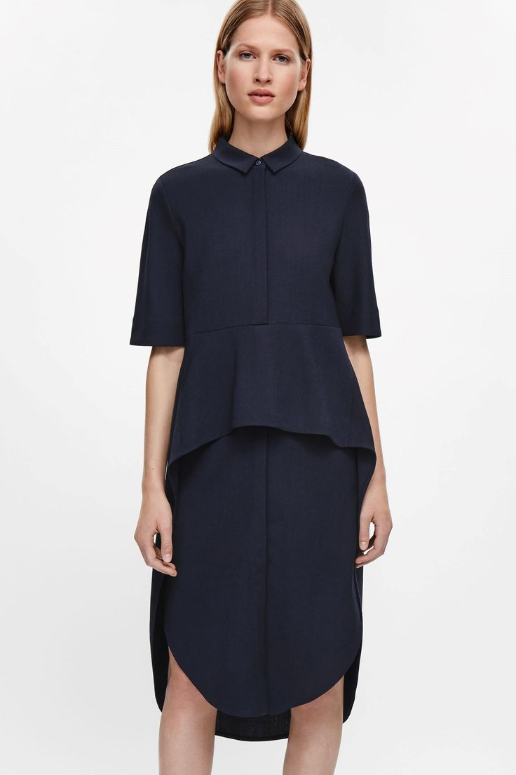 COS image 3 of Layered skirt shirt dress in Navy