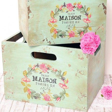 Cajas de madera vintage con un precioso patrón floral