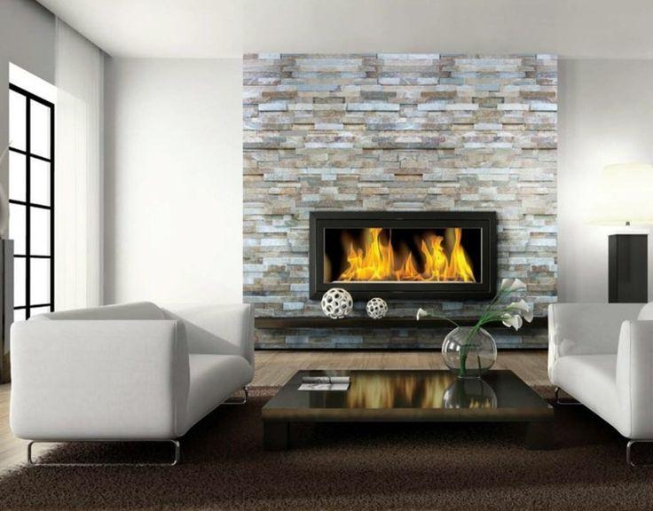 idées pour cheminées modernes avec habillage en pierre