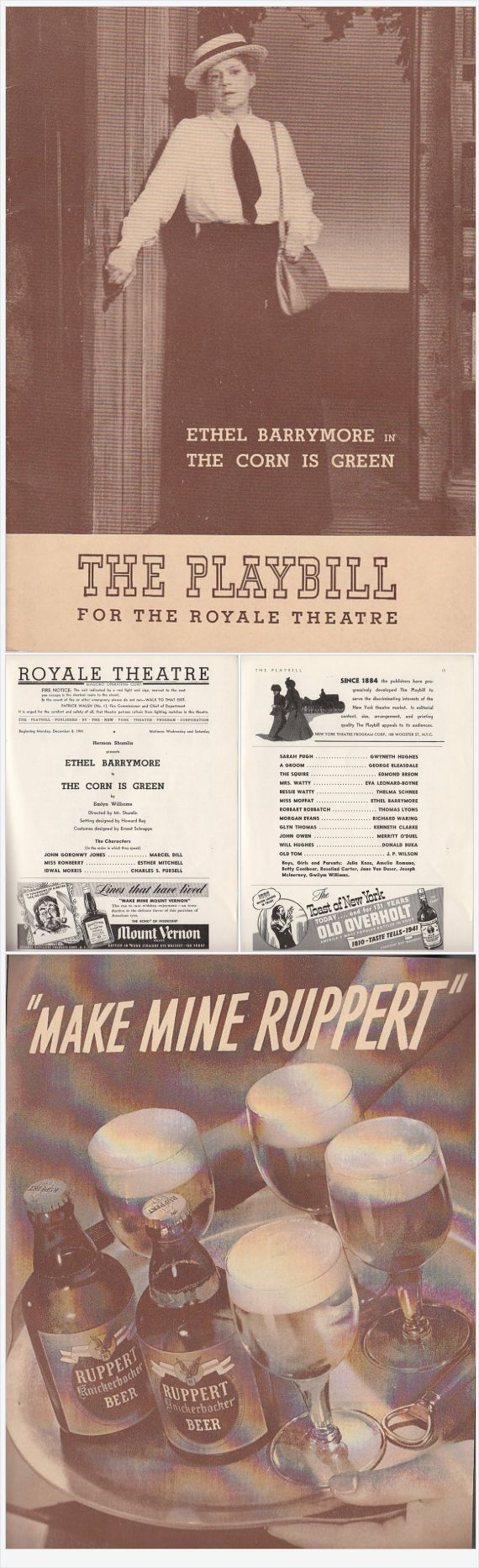 Ethel Barrymore in The Corn is Green 1941 Playbill Royale Theatre New York