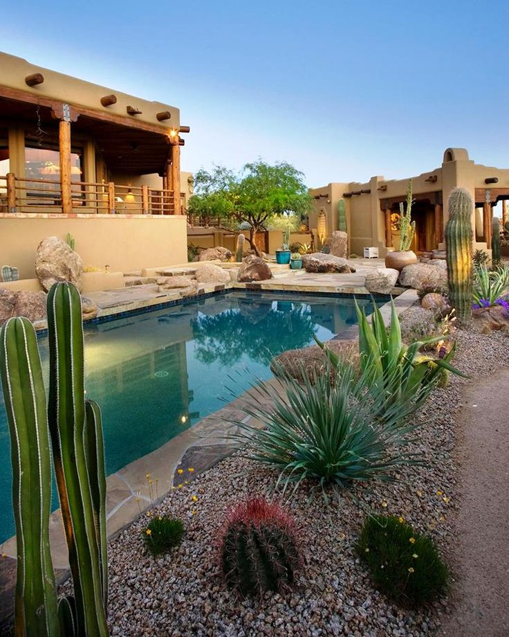 Houzify Home Design Ideas: Southwestern Garden Landscape Pool Borders