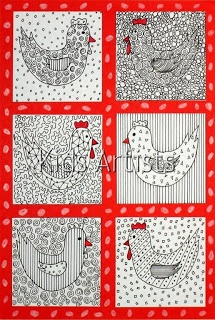 Colour the chicken, wing and background with patterns in black. Colour the beak and comb with red. Paste the chickens on a red background and decorate the edges with white eggs.