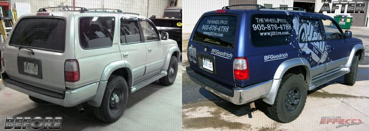 Colour change wrap completed! A once silver 4runner has now been converted into a beautiful matte blue 4runner, with silver metalic vinyl applied over top for finnishings. Coated with Avery Supreme Wrap.