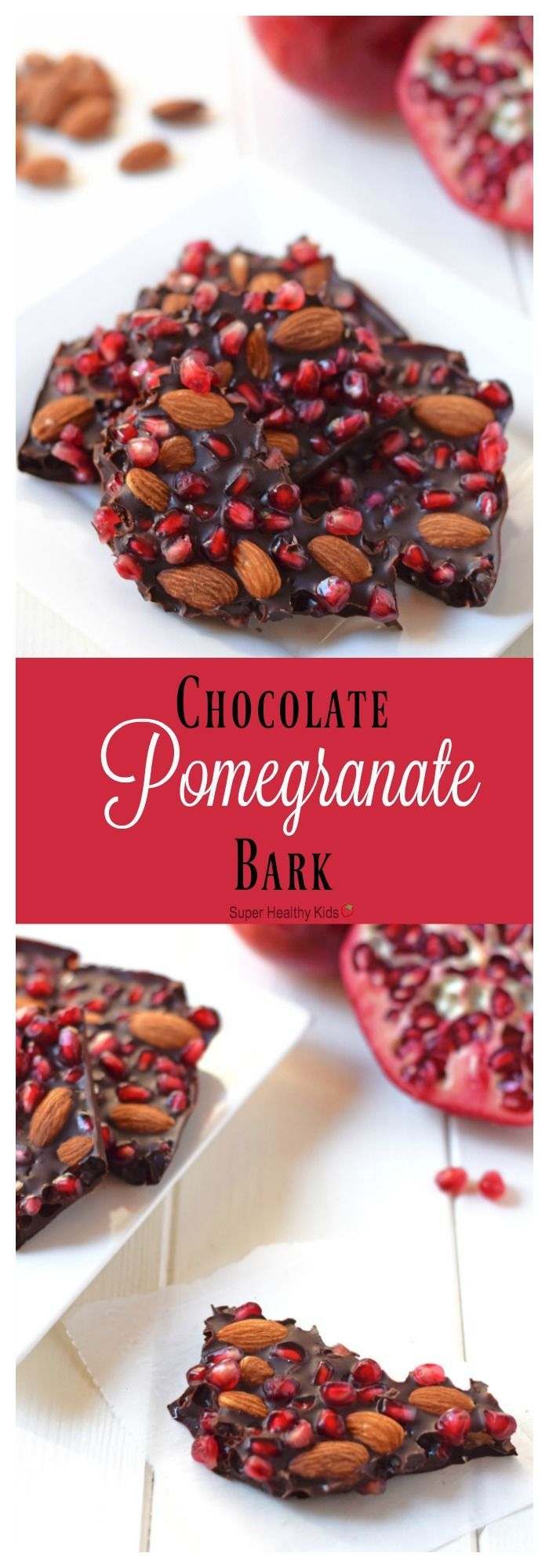 Chocolate Pomegranate Bark with Almonds. Made with just 3 ingredients, this delicious healthy dessert is the perfect way to enjoy pomegranate season! http://www.superhealthykids.com/chocolate-pomegranate-bark/