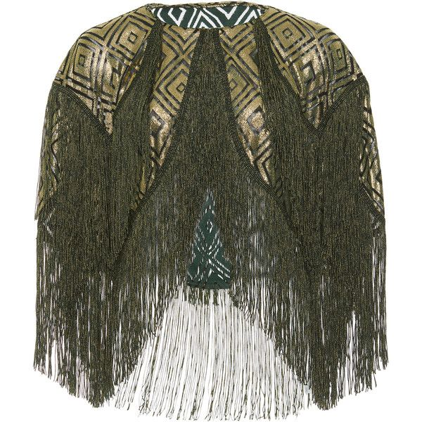 Anna Sui Foiled Diamonds Fringe Bolero ($590) ❤ liked on Polyvore featuring outerwear, jackets, green, anna sui jacket, asymmetrical jackets, diamond jackets, fringe jacket and asymmetrical jacket