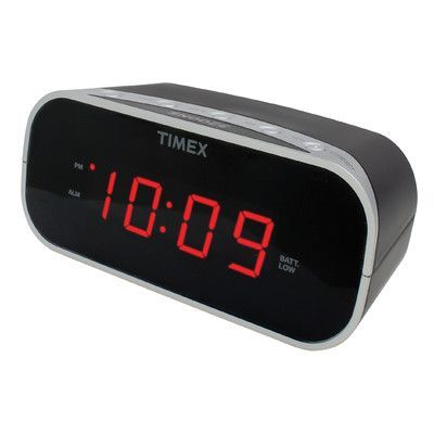 "Timex Alarm Clock with 0.7"" Red Display Color: Black"