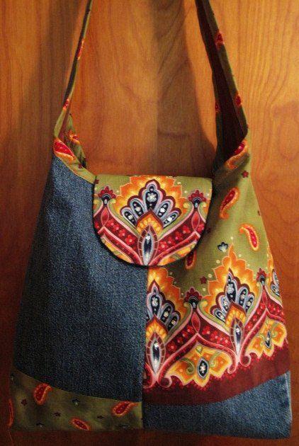 Re-purposed Denim & Fabric Purse