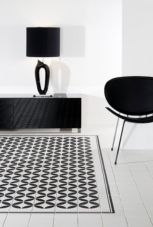 Amazing Tiles Floor Design Application at Home: Amazing Black And White  Ceramic Tile On The Minimalist Room With Black Chair And Black Cabinet ~  FreeSharing ...