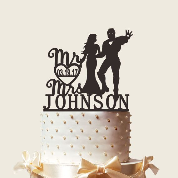 Custom Engraved Wedding Cake Topper, Silhouette Ironman and Beauty, Mr & Mrs Personalized with Last Name, Acrylic Cake Topper,CT111