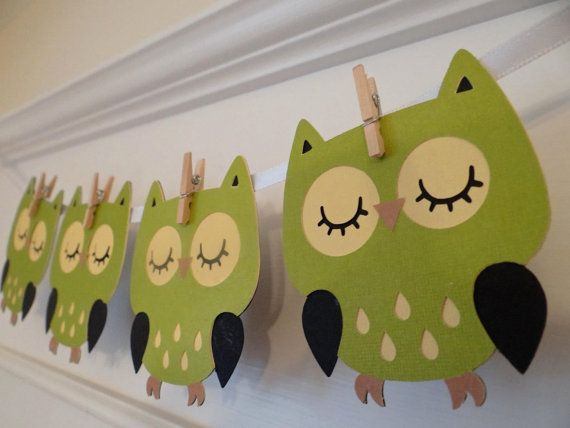 Owl banner decoration. Perfect for your baby shower, gender reveal party or in your nursery! This listing is for 6 green and black owls. Theyre