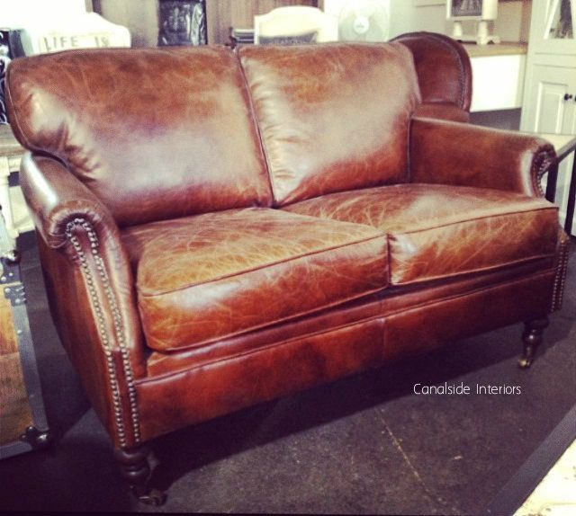 Newport Aged Leather 2 Seater Lounge - Canalside Interiors