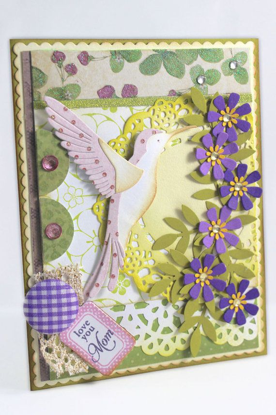 Mother's Day Handmade card, Love You Mom Card, Shabby Chic, Hummingbird Card, Floral CARD, Mother's Day Pretty Card, Cute card Card