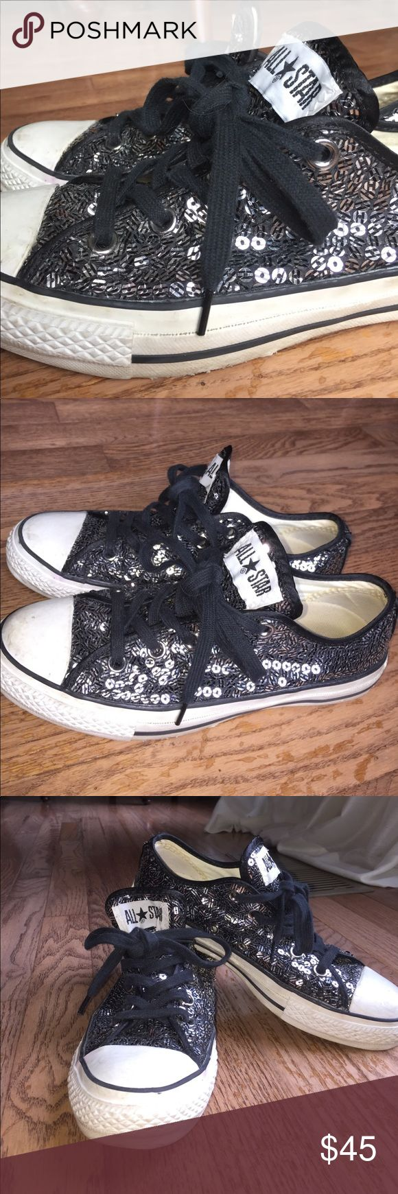 RARE Converse OX striped sequin sneakers These Converse are rare, limited edition and hard to find black and silver striped sequin. Bought in NYC. These shoes are used, and show some signs of wear, this includes: scuffs on the toes, a couple missing sequins, and the inner Converse logo is faded. I am open to all offers :) Converse Shoes Sneakers