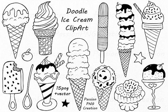 Doodle Ice Cream ClipArt Digital Ice Cream by PassionPNGcreation