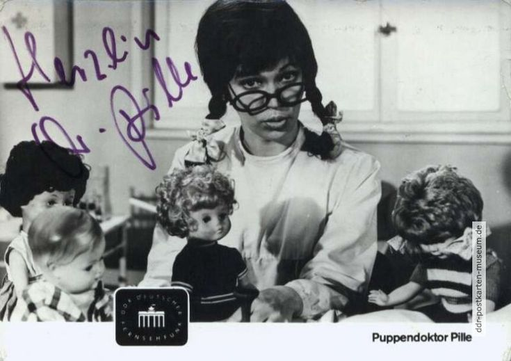 """Karte G . . von 1969 - """"Frau Puppendoktor Pille"""" ... """"mit der großen runden Brille"""""""
