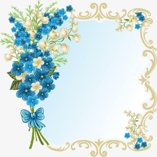 Blue Flower Frame Flower Clipart Frame Clipart Blue Png And Vector With Transparent Background For Free Download Flower Frame Floral Border Design Flower Border