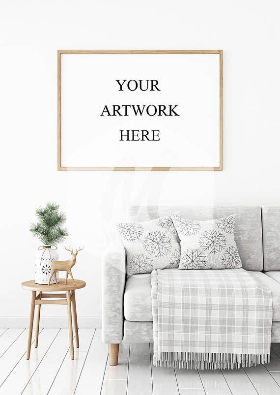 Horizontal Poster Frame Mock Up Scandinavian Style Interior