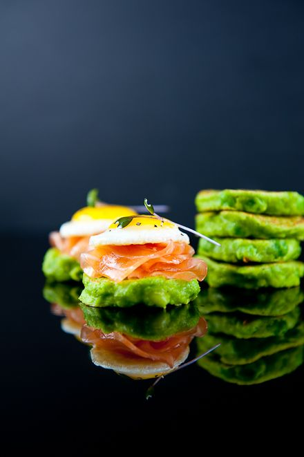Pea Pancakes with Smoked Salmon, Crème Fraiche & Quail Eggs