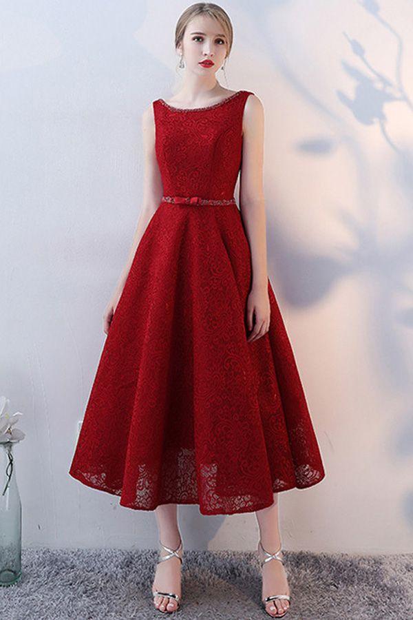 fd7e2772393 Fashionable Lace Jewel Neckline Tea-length A-line Homecoming Dresses With  Beadings