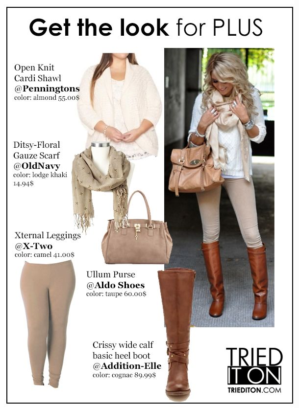Winter 2013 trendy plus size fashion look #taupe #curvy #plussize #scarf #kneeboots