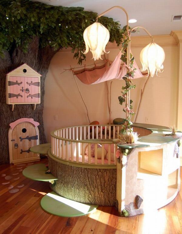 ungewöhnliche kinderzimmer ideen baum feen blumen lampenschirm