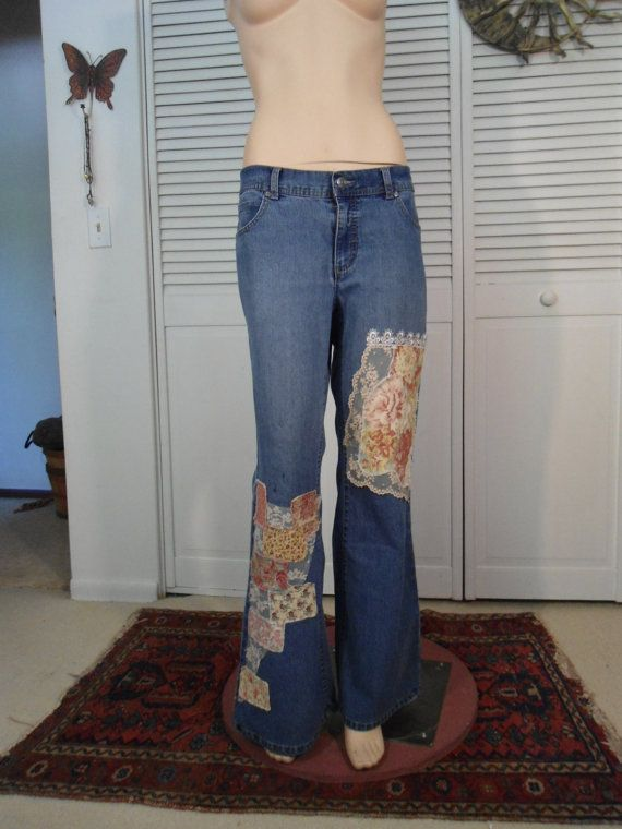I can make these jeans for you!  Upcycled Hippie Jeans Lace Boho Clothes Patched by LandofBridget