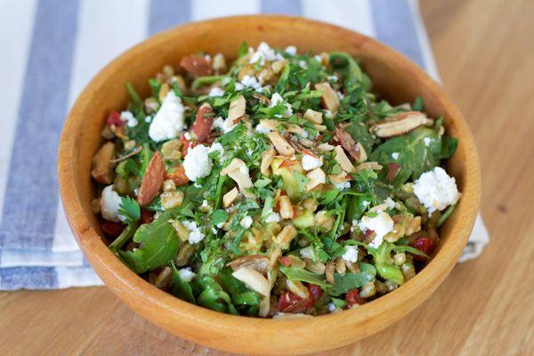 Farro Salad Fresh with Roasted Serrano Dressing