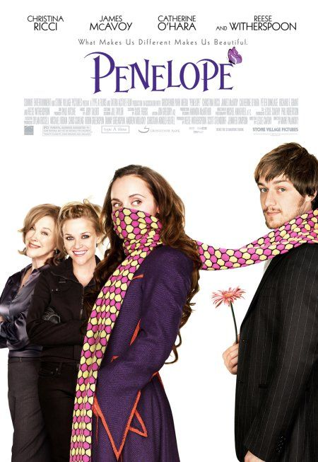 "Penelope (2006).- A modern romantic tale about a young aristocratic heiress born under a curse that can only be broken when she finds true love with ""one who will love her faithfully."""
