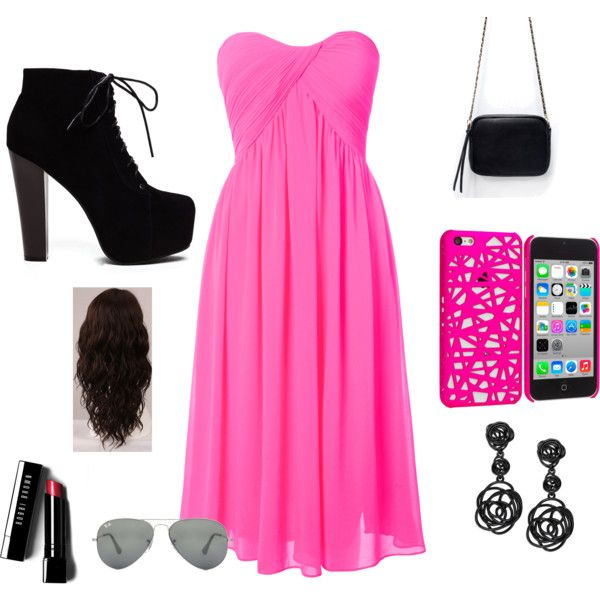 Pink/black by ally-star8888 on Polyvore featuring polyvore, fashion, style, Glamorous, Zara, Oscar de la Renta, Ray-Ban, Bobbi Brown Cosmetics and WigYouUp
