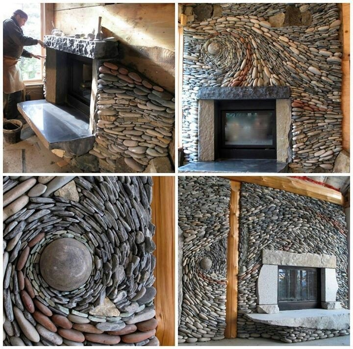 River rock fire place- holy project batman