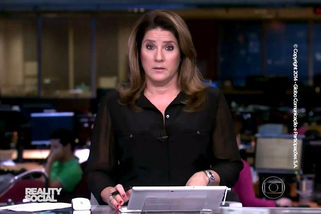 """""""Sou eu"""" – Christiane Pelajo a William Waack, q roubou sua fala no Jornal da Globo ;-)"""