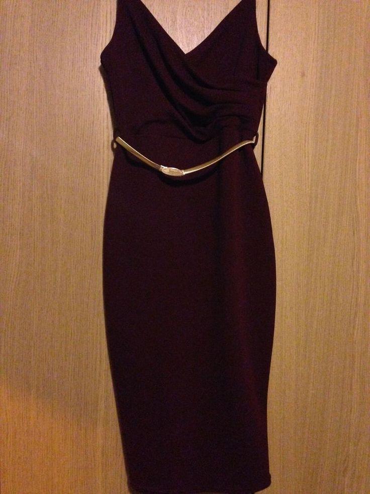 New Look Burgundy Wrap Front Belted Figure Flattering Midi Dress UK 10