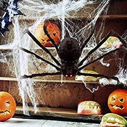 HOTSAN Giant Halloween Spider 50″ Large Fake Spider Outdoor Halloween Decorations – Quake and Squeak with Spooky Voice when Touch