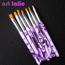 Hot Sale Professional 7 Tamanhos Gel UV Pintura Desenhe Brush set de Moda de Nova Nail Art Escova Frete Grátis 1 set/lote alishoppbrasil