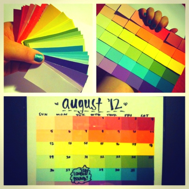 Paint swatch picture frame calendar that you can change with a whiteboard marker! All for $6 at Walmart :)
