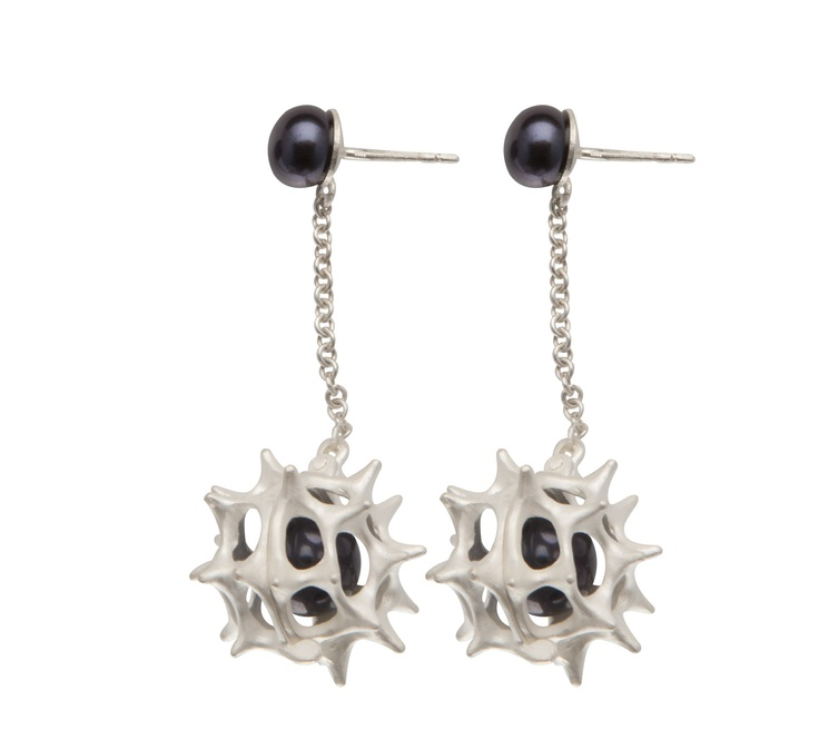 SEA URCHIN PEARL EARRINGS / sterling silver, fresh-water pearl
