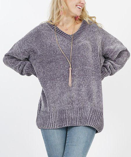 bba5024a0d Ash Grey Oversize Velvet Yarn V-Neck Sweater