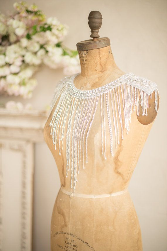 SHOULDER NECKLACE Bridal Body Jewelry Wedding Rhinestone & Crystal Back Necklace Beaded Silver Fringe Gatsby Cape Camilla Christine KATERINA