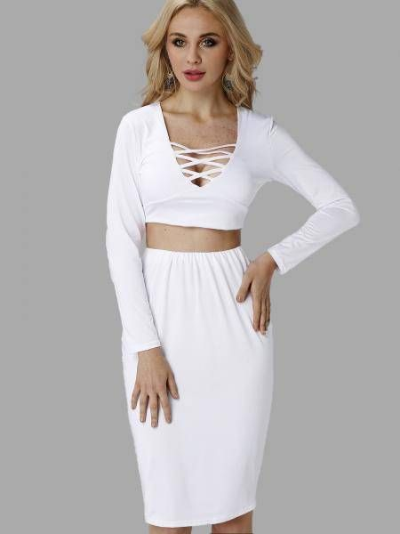 White Hollow Out Crop Top & Midi Skirt Co-ord - US$17.95 -YOINS