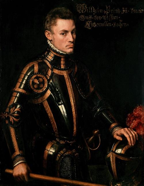 Antonio Moro (1519-1575), Willem I of Nassau, prince of Orange and Stadhouder (1533-1584), 1555. Oil on panel, 105 x 81.5cm. Gemäldegalerie Alte Meister, Kassel.