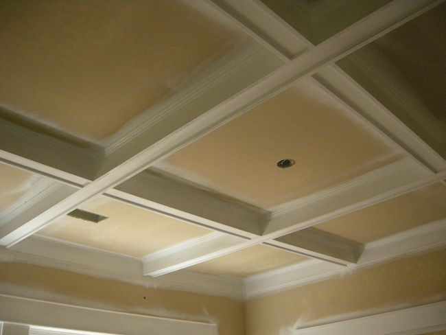 Craftsman style basement ideas pinterest cove for Coffered ceiling styles