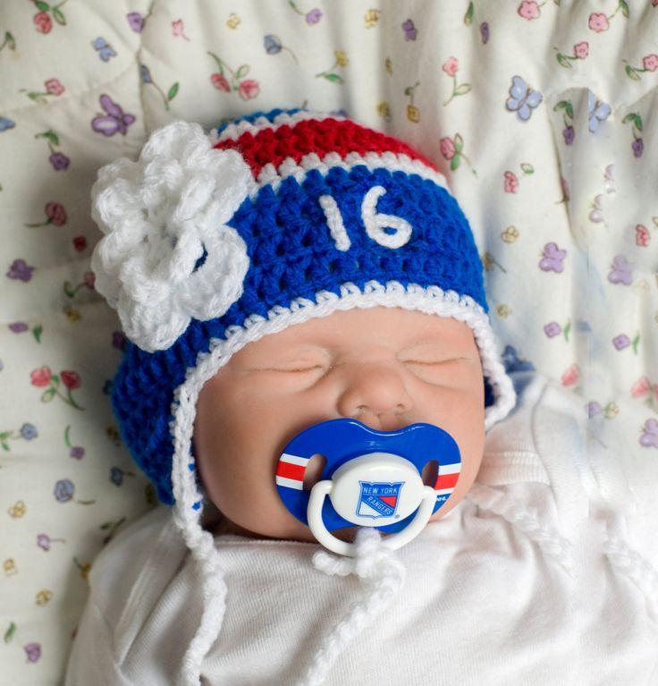 BABY GIRL HOCKEY, New York Rangers pacifier not included, Hockey Baby Hat, Crochet Hockey Hat, Baby Knit Hockey Hat, Knit Hockey Baby Gift, by Grandmabilt on Etsy
