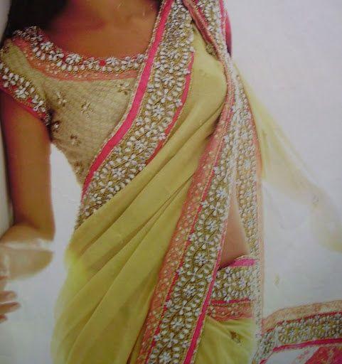 Lime green pink sari