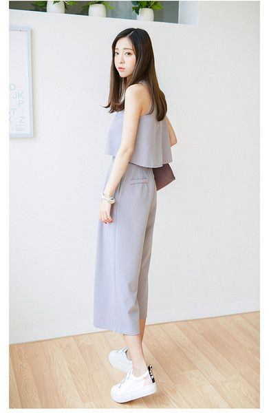 Korean Fashion - Round neck vest + Wide pants suit - AddOneClothing - 6