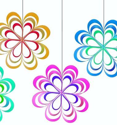 Easy hanging paper flower - party or spring window decoration // Egyszerű papír csík virágok - tavaszi függő ablakdekoráció // Mindy - craft tutorial collection