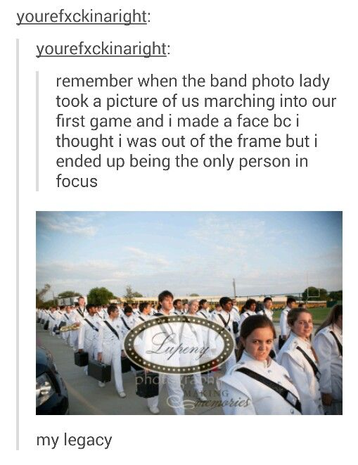 I feel like that's going to happen next year in band for me. But omg that