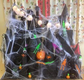This is our 3D Haunted House this year!!!   The kids did a great job on it!   First, we spend about 1-2 weeks learning about 3D shapes in ...
